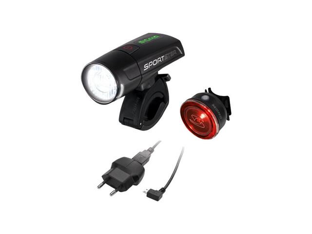 SIGMA SPORT Sportster + Mono Fietsverlichting sets zwart